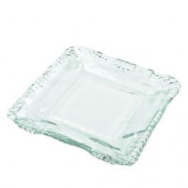 Plato cuadrado artesano transparente