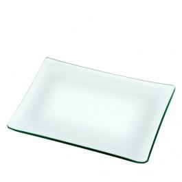Plato rectangular transparente